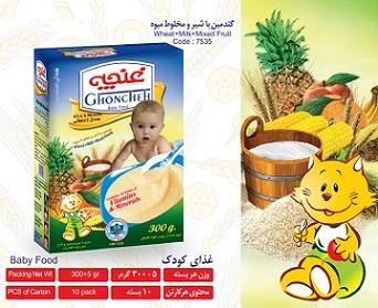 غذای کودک گندمین با شیر و مخلوط میوه 300 گرم آی سودا