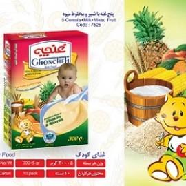 غذای کودک پنج غله با شیر و پودر مخلوط میوه 300 گرم آی سودا