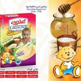 غذای کودک برنجین با شیر و مخلوط میوه 300 گرم آی سودا