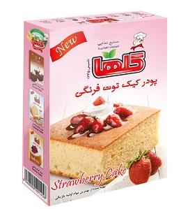 خرید پودر کیک توت فرنگی 500 گرمی گلها