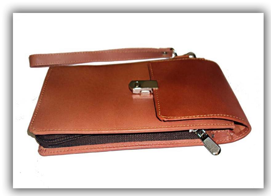 خرید کیف دستی مدارک قهوه ای روشن چرم