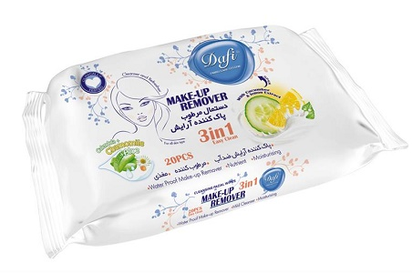 dastmal-_martob_arayesh خرید دستمال مرطوب پاک کننده آرایش دافی