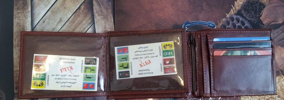 کیف پول چرم طبیعی رنگ عسلی